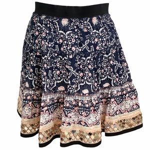 FREE PEOPLE Tiered Navy/Floral Sequin Skirt SZ-XS